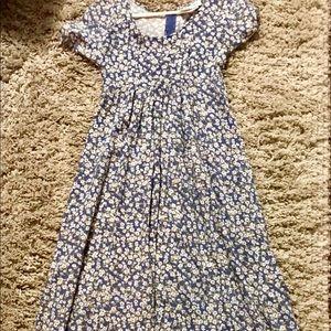 Cornflower Blue Dress With White Flowers